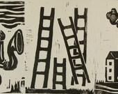 Woodblock print mermaid ladders and house