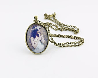 Lady Of The Lake Necklace, Vintage Brass, Photography, Photo Jewelry, Model Photography