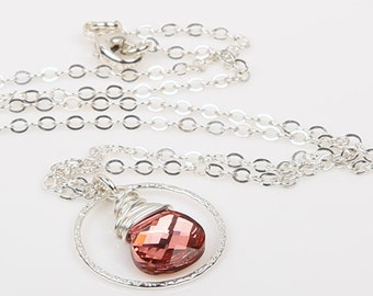 As Seen On Chasing Life. Sparkling Light Rose Necklace With Sterling Silver Brushed Texture Circle And Sterling Silver Chain