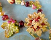 DAHLIA SONG HelensHarvest Lampwork Glass Blossom, Buds, Bird and Leaf Beads Handmade Beaded Necklace