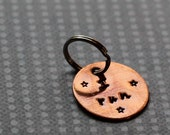 Runner Keychain  - Small Handstamped Round Copper Metal I RUN Charm, Pendant, Keychain, Zipper Pull or Bag Tag