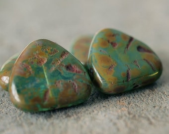 Czech Glass Carved Teal Green Picasso 17mm Heart Bead : 4 pc