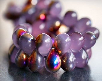 Lilac Luster Marea Czech Glass Bead4x6mm Tear Drop : 50 pc Full Strand