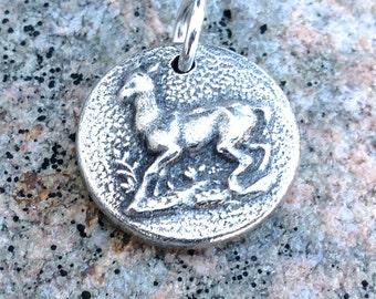 Doe Deer Pendant, Deer Charm, Woodland Animal, Rustic Jewlery, Antiqued Button Design