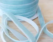 Pale Blue velvet Ribbon Trim 5 metres in length -  5 yds Lovely Ribbon