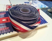 Red White Blue ribbon Trim 2 metres 2yds Stripe Grosgrain woven craft sewing wrapping