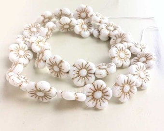 Daisy Flower Beads White Opaque Czech Glass Large Flat