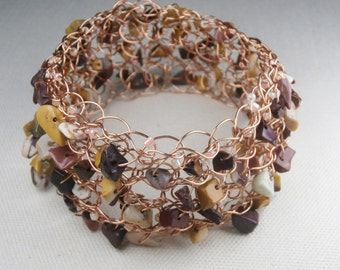 Copper Bracelet, Cuff, Mookaite Jasper Wire Crochet Bracelet, Cooper Cuff, Warm Colors, Natural Jewelry