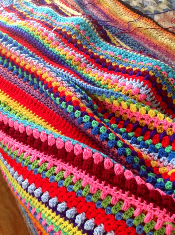 Crochet Afghan Multi Stitch Colorful Rainbow By