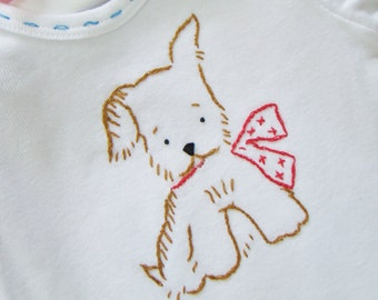 Pup in Scarf - Onesie, Bodysuit - Hand Embroidered for Boy or Girl - Vintage Style