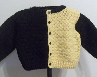 Boy's Sweater/Cardigan - Yellow and Black - Size 4 - Ready to Ship
