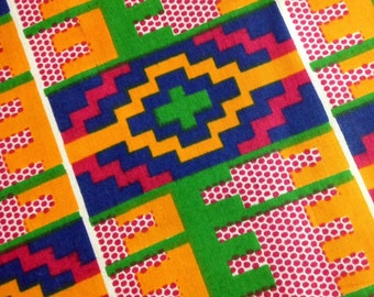 Colorful African Kente Fabric by the Yard - 100% Cotton, Southwest Pattern