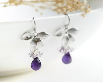 Silver Amethyst Earrings - light purple cluster, purple gemstone tear drop, bridesmaid gift, February birthstone, small flower - Dogwood
