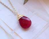 Ruby Necklace – Genuine Ruby Gemstone, Gold Filled, July Birthstone, Wire Wrapped Stone, Red Necklace - A8