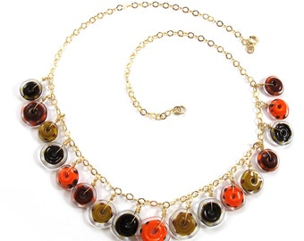 Lampwork necklace, Handmade Glass necklace, Handcrafted glass necklace, funky flowers in orange and brown,14k Gold-Filled SRA