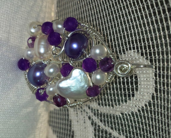 Wire wrapped Sterling silver one-of-a-kind Amethyst Pearl Oval Pendant