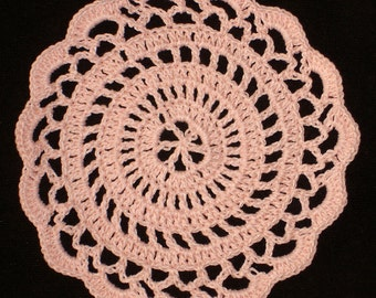 "New Handmade Crocheted ""Elegance"" Coaster/Doily in Light Peach"