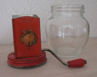 Nut grinder red top with glass