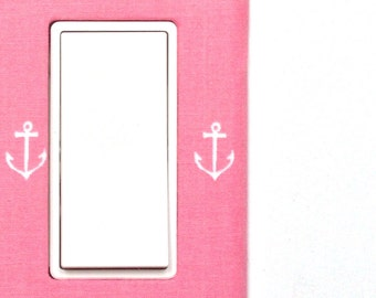 Light Switch Plate Cover, slider rocker switch, gfci outlet wallplate - pink with white anchors