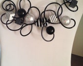 Free Form Twisted Black Wire with Beads Necklace