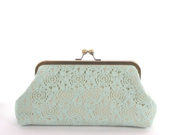 Mint Green Lace Clutch, Mint Bridesmaid Clutch, Mint Green Bridal Party Purse