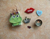 Kiss a Frog and Get a Prince - Altered MatchBox, Bottle Cap, Pin and More