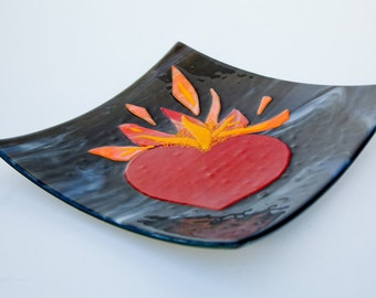 Red, yellow and orange fused glass flaming heart plate  12 x 12