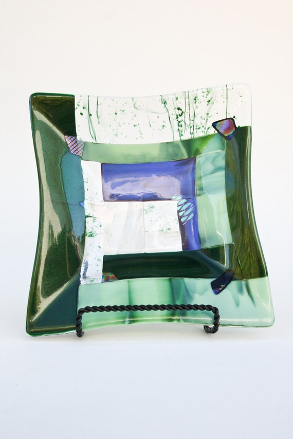 Green and Blue Fused Glass Mosaic Square Platter