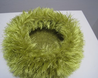 "chartreuse green felted bowl, medium crocheted ""nest"" with bright chartreuse  fuzzies ""wowza"""