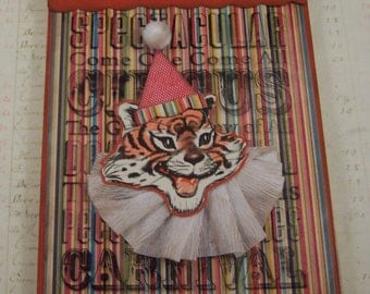 Circus Collage Art  - Mixed Media - Altered Art Canvas - Childs Room Decor - Tiger Collage - Vintage Circus Art