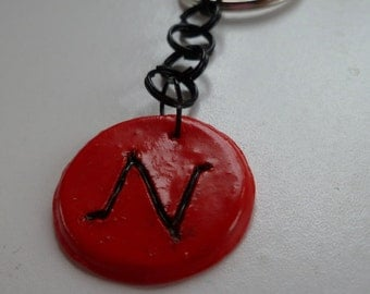Red Intial N Keychain