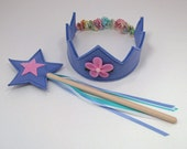 Wool Felt Crown and Wand -- periwinkle with pink flower