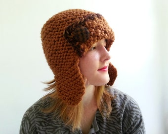 Aviator Hat in Caramel. Chunky. Handknit. Girls. Women. Teens.
