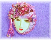 Lavender Beaded Brooch Crystal Face Brooch Bead Embroidered Art Pin Lady Face Brooch