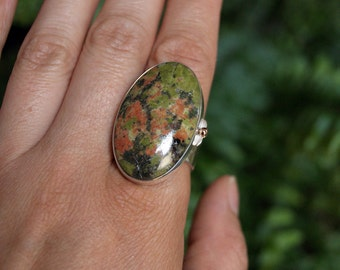 ON SALE, Spring Poppies, a Unakite and Silver cocktail ring, size 10, Argentium silver and pink gold