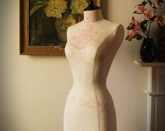 Home Bedroom Decor Display Mannequin in Beautiful Kate Forman Linen Fabric Store Dressform - Sophia in Pink