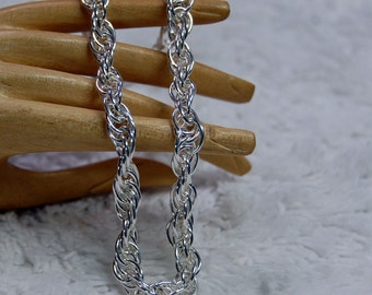 Twisted Sterling Rope Chain Vintage Italian made Bracelet 7.5 inches long