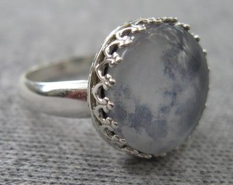 Sterling Silver Moon Ring, Size 7 or 8
