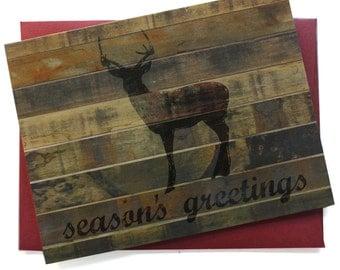 Reclaimed Wood Rustic Forest - DEER - Seasons Greetings - Set of 8