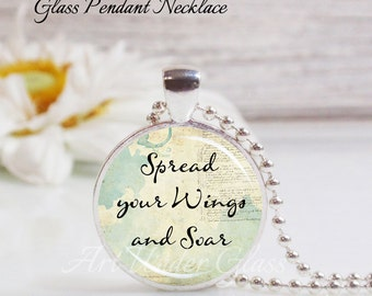 Round Medium Glass Bubble Pendant Necklace- Spread Your Wings And Soar