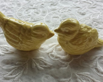 Wedding Cake Topper Love Birds Mini Bright Yellow In Stock ready to Ship Cake toppers Yellow Home Decor Ceramic