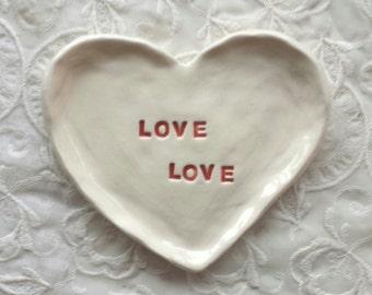 Trinket Dish Heart Shaped Dish Jewelry Dish Love Love Birthday Gift Bridesmaid gift
