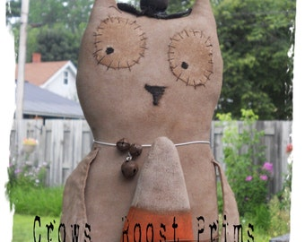 Halloween White Witch Owl Candy corn doll 301e Primitive Crows Roost Prims epattern SALE immediate download