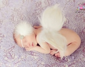 Handmade Angel Wings Baby Photo Prop - White Feather Angel Wings Fully Poseable for Newborn Photography, WINGS ONLY