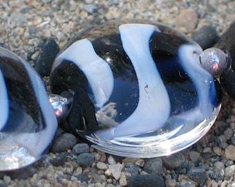 Handmade Glass Lampwork Beads, Black/White Stripe Lentil