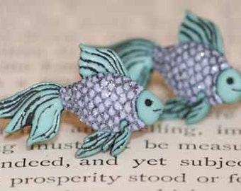 Sparkly Tropical Fish Stud Post Earrings