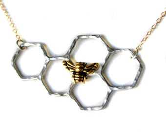Sterling Silver Honeycomb Necklace on 14k Gold Filled Chain- as seen on Beyonce