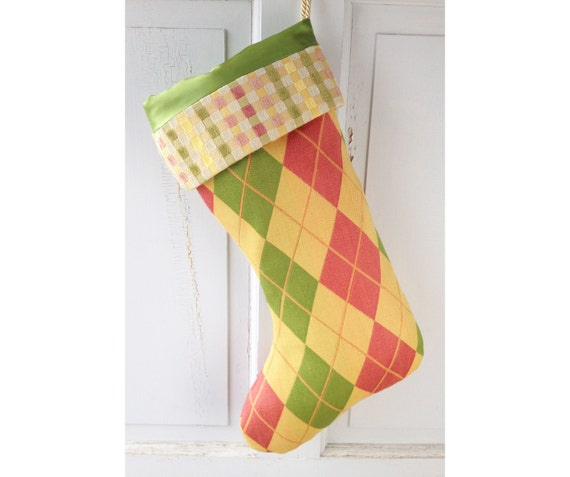 Large Modern Christmas Stocking - Preppy Sherbert Argyle Heirloom Holiday Decor