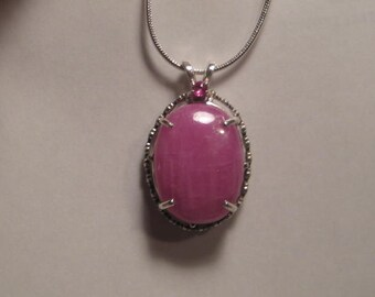 Nice Large Size Pink Sapphire Pendant  .  Sterling Silver.   e643