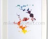 "RAINBOW CONSTELLATION  Monotype print framed in white frame 16"" x 21"""